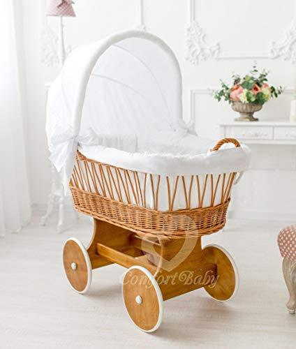 ComfortBaby ® Snugly Baby Stubenwagen mit Moskitonetz - komplette 'all inclusive' Ausstattung - Zertifiziert & Sicher (Natur-Weiß)