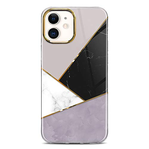 JIAXIUFEN Shiny Metallic Plating Stylish Marble Case Compatible with iPhone 12/12 Pro Case Hard Back with Soft TPU Bumper Shockproof Phone Case for iPhone 12/12 Pro 6.1' 2020 Black Gray