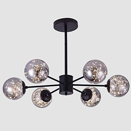 LedGlobe - Lámpara de techo de metal industrial moderna vintage con pantalla de vidrio soplado a mano para sala de estar dormitorio cocina luz negra negro 6 luces
