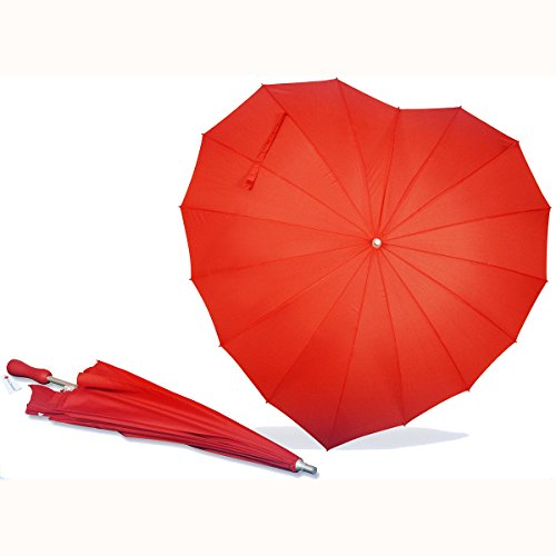 AoGV Forever Love Parasol Red Heart Shaped Girls Umbrella for Valentine, Wedding, Engagement and Photo Props