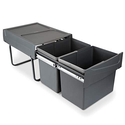 EMUCA - Cubos de Basura con fijación Inferior para Cocina, 2 contenedores de Reciclaje extraibles de 15 L, Capacidad Total 30L (2 x 15 L), Acero y plástico, Gris Antracita.