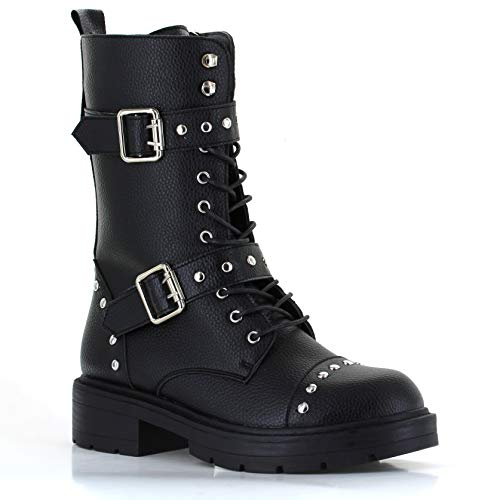Seven7 Women's Studded Buckle Strap Combat Boots Vegan Leather High Boots Lugged-Sole