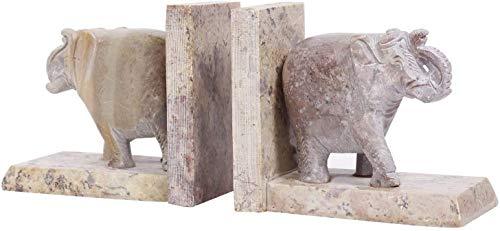 Handmade Soapstone Elephant Book Ends Hand Carved Decorative Bookend Home Décor Book Ends