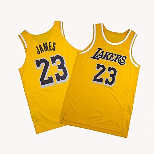 YDSZ Láker Jámes 23# Camiseta Amarilla Camiseta de Baloncesto, Malla de Hombre Moda de Malla Transpirable Ropa Deportiva Yellow-L