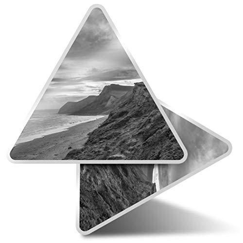2 pegatinas triangulares de 7,5 cm – BW – Burton Bradstock Dorset...