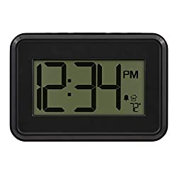 La Crosse Technology 513-113 Digital Wall Clock with Temperature & Countdown Timer, Black