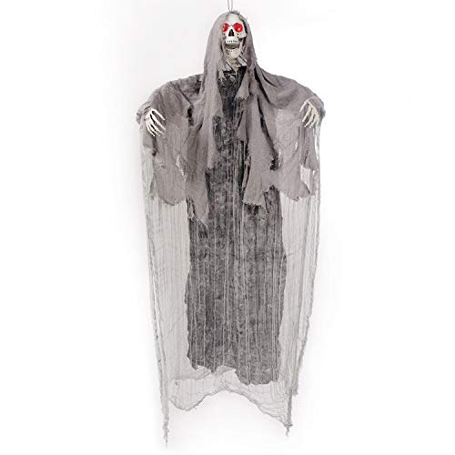 JOYIN 5.6 Ft. Animated Hanging Screaming Ghost Decoration, Halloween Skeleton Grim Reaper for Haunted House Prop Décor