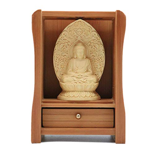 EBISSY Buddha Statue Small Hand Carved Wooden Box [ Home Decor Mini Buddhist Altar ] Portable Temple (Amitabha Box)