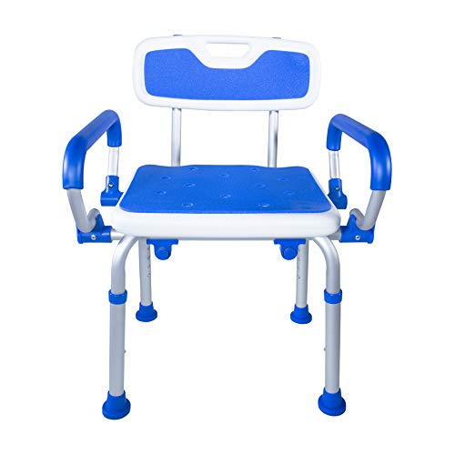 PCP Shower Safety Chair, Bath Bench With Backrest, Swing Arms, Adjustable Height, Medical Senior Support, Foam Padded