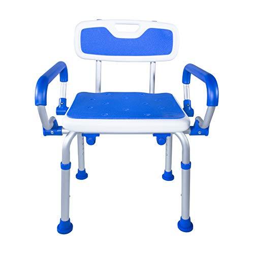 PCP Silla de seguridad para ducha, banco de baño con respaldo, brazos oscilantes, altura ajustable, soporte médico para personas...