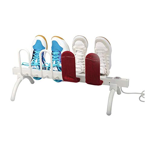 LAHappy Electric Shoe Dryer Shoes Or Boots Dehumidifier and Hanger Shoe Warmer Dryer,Energy-Saving,Easy to Carry Drying Rack (8-Shoe),White