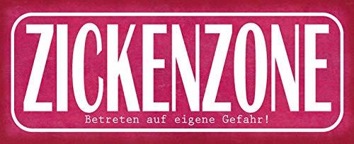 Deko7 Blechschild 27 x 10 cm Spruch: ZICKENZONE - Betreten auf eigene Gefahr