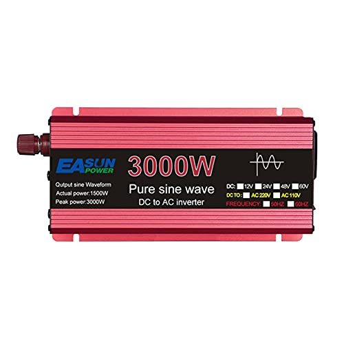 SDDDS Inversor de coche, Inversor de onda sinusoidal pura, DC 12V 24V a AC 110V 220V Voltaje 1600W 2200W 3000W, 60HZ Transformer Power Converter