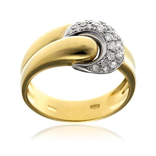 Gioiello Italiano - Anillo en oro amarillo y blanco 18kt con pavé de diamantes 0.24ct