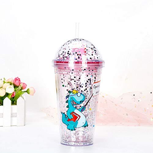 2 piezas Vaso de plástico de doble capa Starry SkyDrink Cup Botella de agua de para niños,linda taza de viaje de doble pared con tapa,vaso reutilizable sin BPA de para fiestas de verano y regalos
