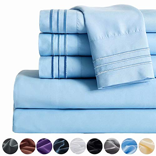 SAKIAO -6PC Queen Size Bed Sheets Set - Brushed Microfiber 1800 Thread Count Percale - 16' Deep Pocket Wrinkle Free & Fade Resistant - Egyptian Sheet Set (Lake Blue,Queen)