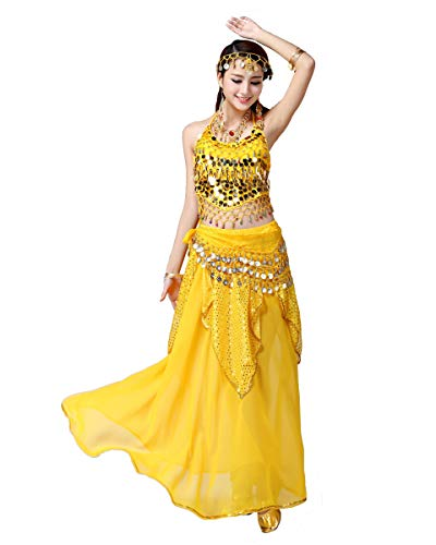 Grouptap Les Femmes Bollywood Inde Arabe Sexy Lady Danseuse du Ventre Paillettes Longue Jupe Robe Costume de soirée Costume Jaune Fantaisie Adulte (Jaune, Hauteur de 155-175cm)