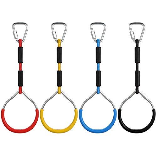PELLOR Kinder Gymnastik Seilringe Gym Rings mit Verstellbare Turnringe für Garten, Ringe beim FitnessTraining Set,Hindernisring, Affenring, Kletterring(4ER STÜCKE)