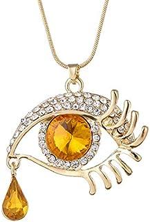 Devil's Eye Crystal Sweater Chain Big Eyes Teardrop Necklace for girls women