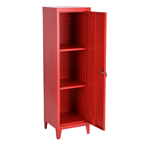 HouseinBox Office File Storage Metal Cabinet 3 Door Cupboard Locker Organizer Console Stand 3-in-1 (RED-Standing Locker)