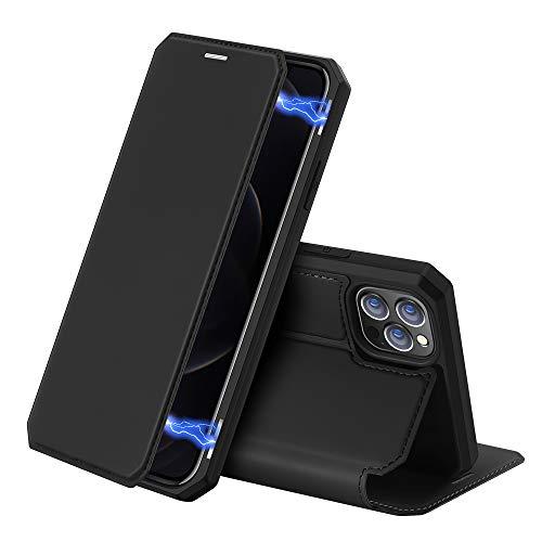 DUX DUCIS Hülle für iPhone 12 Pro Max, Premium Klappbar Leder mit Magnet Handyhülle Schutzhülle für Apple iPhone 12 Pro Max Tasche (Schwarz)