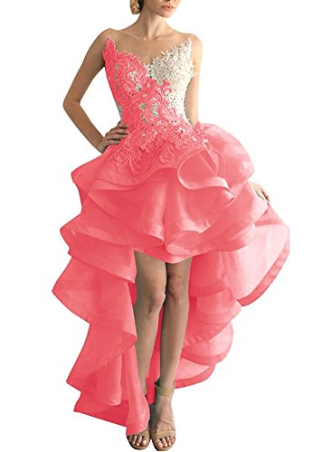 Beyonddress Damen Hi-Lo Abendkleider Asymmetrisch Ballkleid Organza Partykleid Heimkehr Kleider (Wassermelone,38)