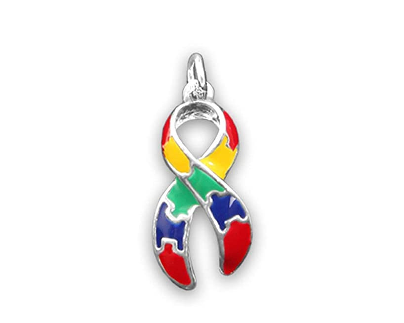Large Autism Ribbon Charms (Wholesale Pack - 25 Charms)