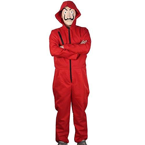 Haus des Geldes Unisex Bankräuber Kostüm Overall und Dali Maske La Casa De Papel Halloween, Größe:M