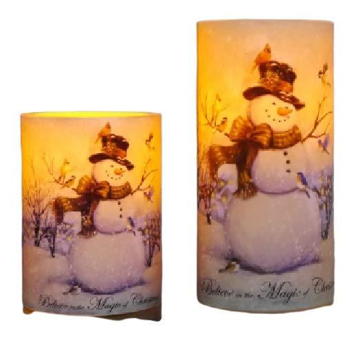 LED Kerze 2er Set mit Schneemann Motiv Kerzenschein Weihnachten, 15432 Adeventszeit