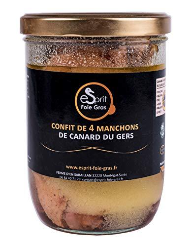 Esprit Foie Gras - Confit de 4 manchons de canard du Gers - 700 G - Conserverie familiale du Gers - Plat cuisiné pour 2 personnes - Canard élevé et transformé dans le Gers - Terroir et gastronomie du Sud-Ouest