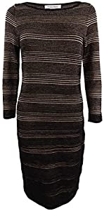Calvin Klein Womens Knit 3/4 Sleeves Sweaterdress