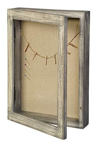LucroTo Marco de fotos 3D de madera para rellenar, color gris (24 x 32,7 x 5,7 cm) I Uso versátil como regalo de dinero o regalo de boda, incluye accesorios.
