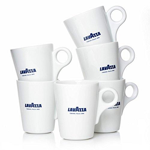 Lavazza Blu Collection Kaffeebecher, 6er Pack, Kaffeetasse, Becher, Tasse, Porzellan, Weiß, 350ml