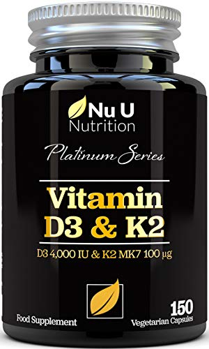 Vitamin D3 4000 IU and Vitamin K2 100μg MK7 - 5 Month Supply 150 Capsules - Vitamin D3 & K2 - Quadruple Strength Cholecalciferol - K2 from Natto - Made in the UK