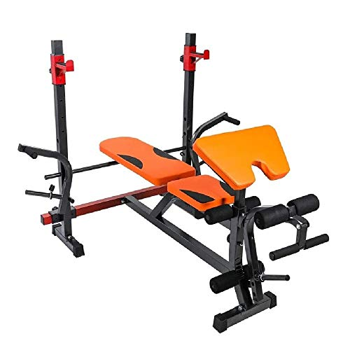 FQCD Verstellbare Bänke Squat Rack Gewicht Tischmultifunktions Gewicht Bett Adjustable Bench Press Barbell Bed Heimfitnessgeräte Bänke (Color : Orange)