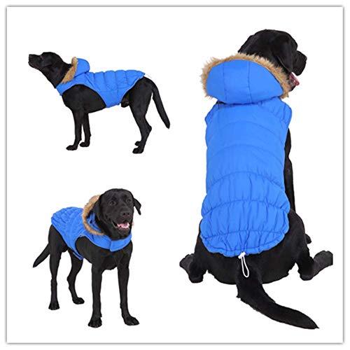 KSITH huisdier grote hond kleding winter capuchon jas nacht reflecterende huisdier hond koude bescherming vest, M, H