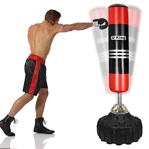 UKing Saco de Boxeo de Pie, 180cm Saco Boxeo Suelo con Base y Columna de Rebote de 360 °,para Kick Boxing, Artes Marciales Mixtas, Equipo de Entrenamiento de MMA, Karate