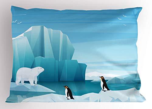 ABAKUHAUS Polo Norte Funda de Almohada, Los İconos De Dibujos Animados Ártico, Decorativa Estampada Tamaño Standard Dos Plazas, 90 X 50 cm, Mar Azul Pálido del Cielo Azul del Gris Y Azul del Bebé