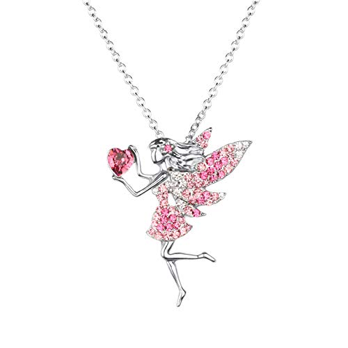 Fairy Necklace for Teen Girls ,Birthstone Pendant Gift for Girls White Gold Plated Austrian Crystal Jewelry Gift (Pink)