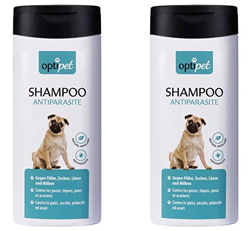 OptiPet 2x250ml Anti-Parasiten Shampoo für Hunde gegen Parasiten Flohshampoo Schutz vor Parasiten