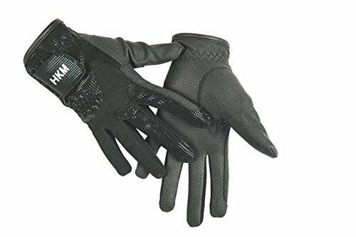HKM–Guantes de hípica–Economic Glitter de, color negro, tamaño XS (16-17 cm)