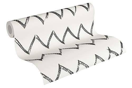 Designdschungel by Laura N. Vliestapete mit Zickzack Muster matt glänzend 10,05 m x 0,53 m schwarz weiß Made in Germany 365742 36574-2