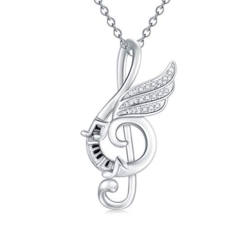 Sterling Silver Music Note Pendant Necklace with Dream Wing Piano Treble Clefs Necklace for Girl Women Graduation Birthday Gift