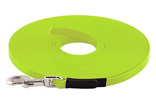 LENNIE BioThane Schleppleine, 5m, Neon-Gelb, 16mm für große Hunde, genäht