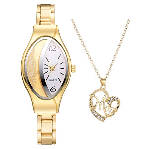 Janly Clearance Sale Conjuntos de joyería para mujer, reloj de cuarzo casual con collar para mujer, combinación de regalo, regalo de cumpleaños, regalo para damas y niñas (dorado)