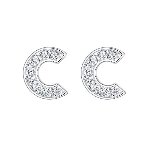 EVER FAITH Women's 925 Sterling Silver Pave Cubic Zirconia Initial Alphabet Letter C Stud Earrings Clear