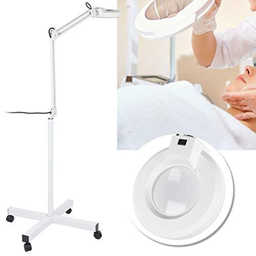 【𝐏𝐫𝐨𝐦𝐨𝐜𝐢ó𝐧 𝐝𝐞 𝐒𝐞𝐦𝐚𝐧𝐚 𝐒𝐚𝐧𝐭𝐚】 Lámpara de pie LED, luz de Piso con Lupa Regulable con Base rodante de 4 Ruedas Lupa 8X para Lectura casera Manualidades Investigación Enchufe de la UE