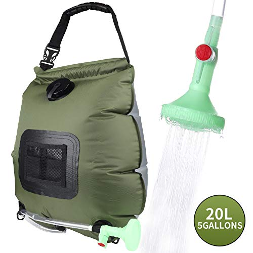 PGYFIS Camping Solar Shower Bag Portable Solar Heating 5 Gallons/20L with On-Off Switchable Shower Head for Outdoor Traveling Hiking (Army Green)