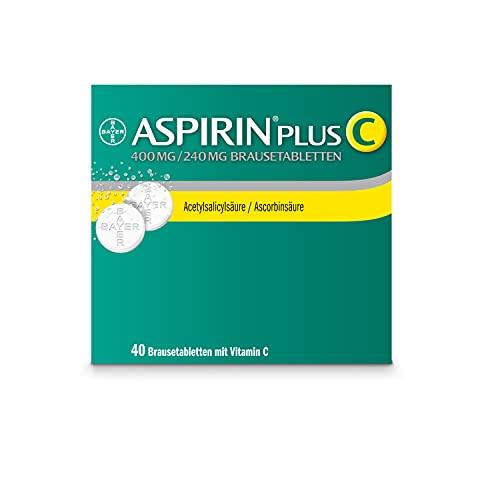 Aspirin PlusC Brausetabletten, bei Kopfschmerzen und erkältungsbedingten Schmerzen wie Hals- und Gliederschmerzen und Fieber, 40Stück