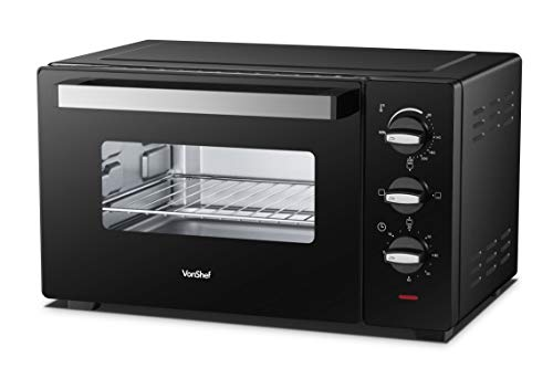 VonShef Mini Oven 30L- 1600W Portable, Electric Multi-Function Cooker for Grilling, Baking & Roasting with Wire Rack, Baking Tray and Detachable Handle- Adjustable Temperature Control & Timer